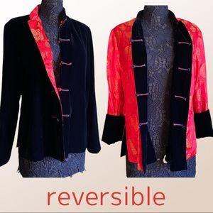 Black Velvet Red Silk Reversible Chinese Jacket